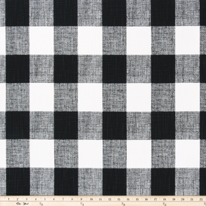 picture of heavy slub black and white buffalo check plaid fabric