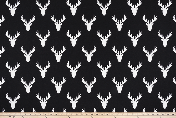 black deer head with antlers fabric