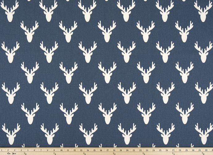 Navy Deer Antler Fabric