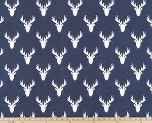 blue deer antler fabric