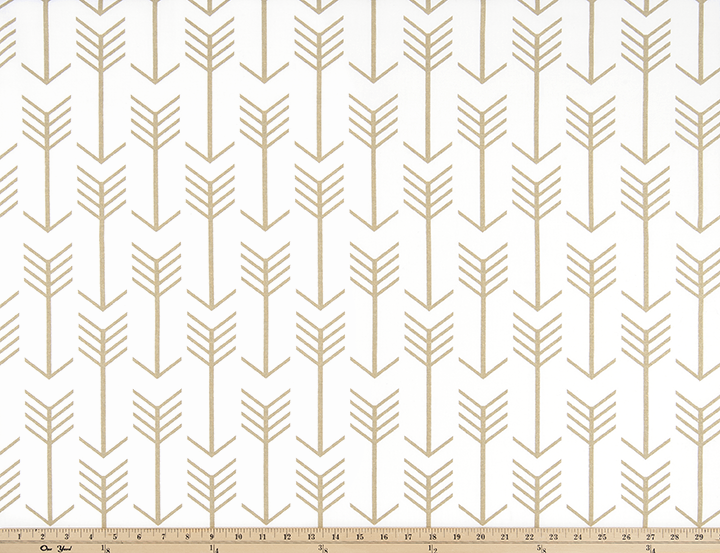 White and Gold Printed Fabric with Repeating Arrow Native Indian Pattern