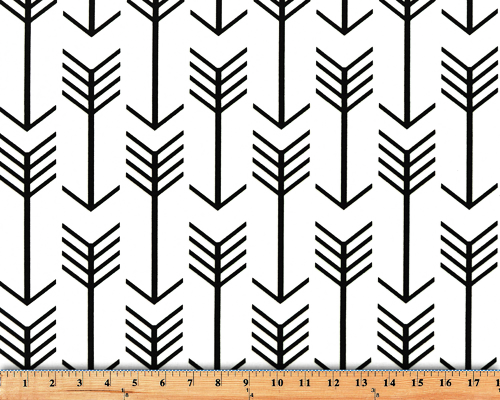 White and Black Printed Fabric with Repeating Arrow Native Indian Pattern