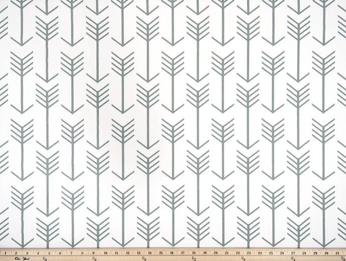 White Printed Fabric with Grey Repeating Arrow Native Indian Pattern