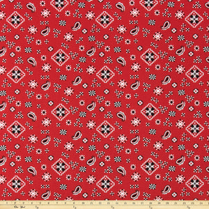 Bandana Red/Black Fabric By Premier Prints