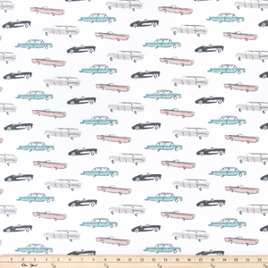 retro cars themed fabric for kids