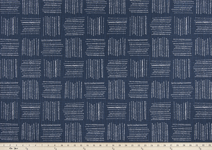 Photo of blue fabric with a square geometric pattern