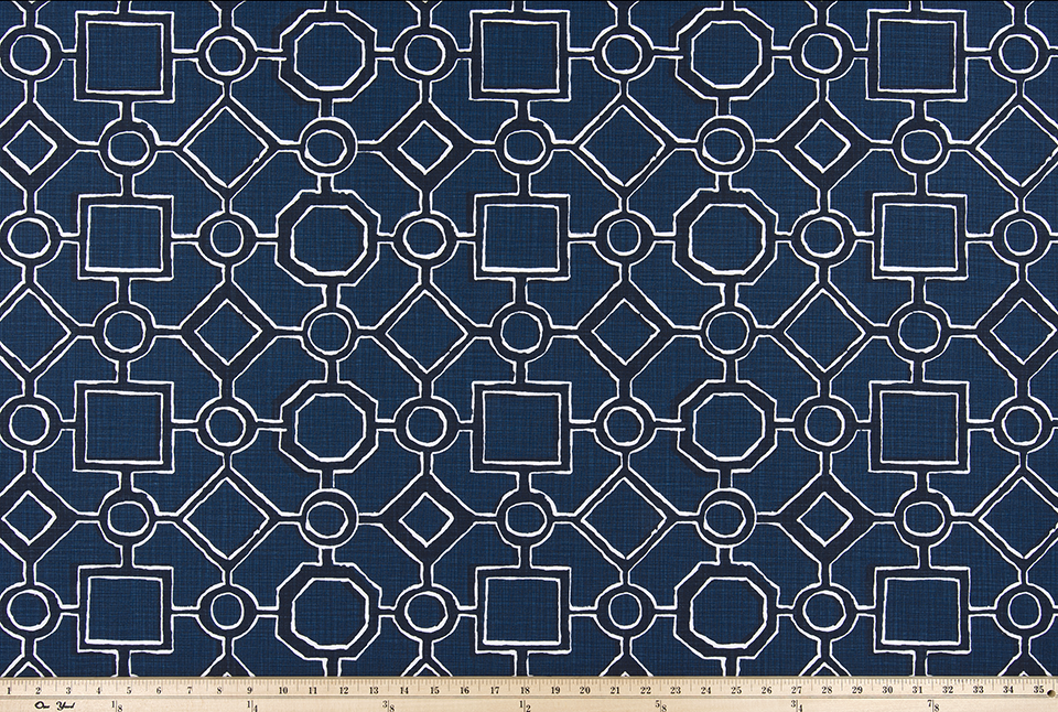 picture of blue, black, and white Brazilian pattern inspired fabric