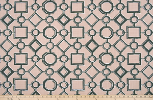 picture of peach, black, and white Brazilian pattern inspired fabric