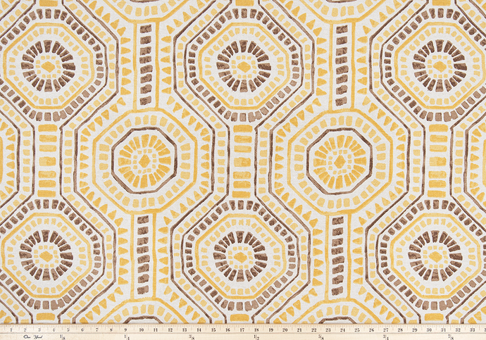 picture of repeating tribal Indian octagon repeating pattern on yellow fabric