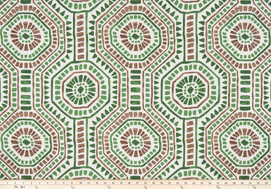 picture of repeating tribal Indian octagon repeating pattern on flax fabric