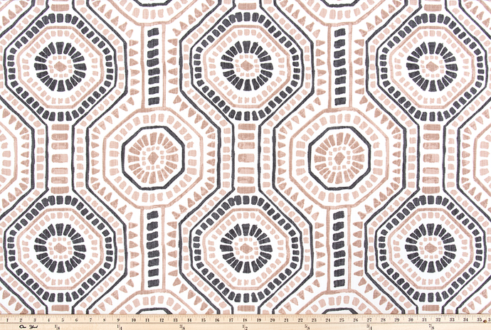 picture of repeating tribal Indian octagon repeating pattern on slub linen fabric