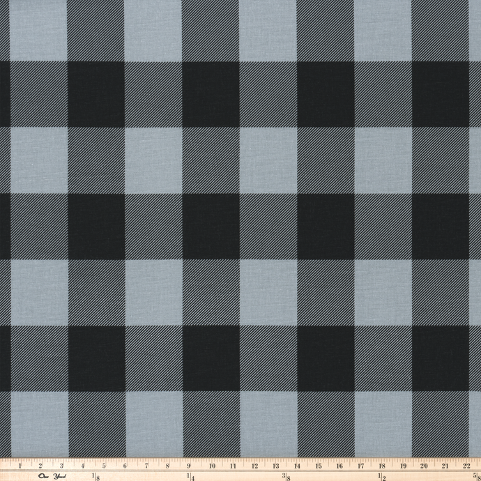 photo of black buffalo plaid check pattern printed on grey fabric