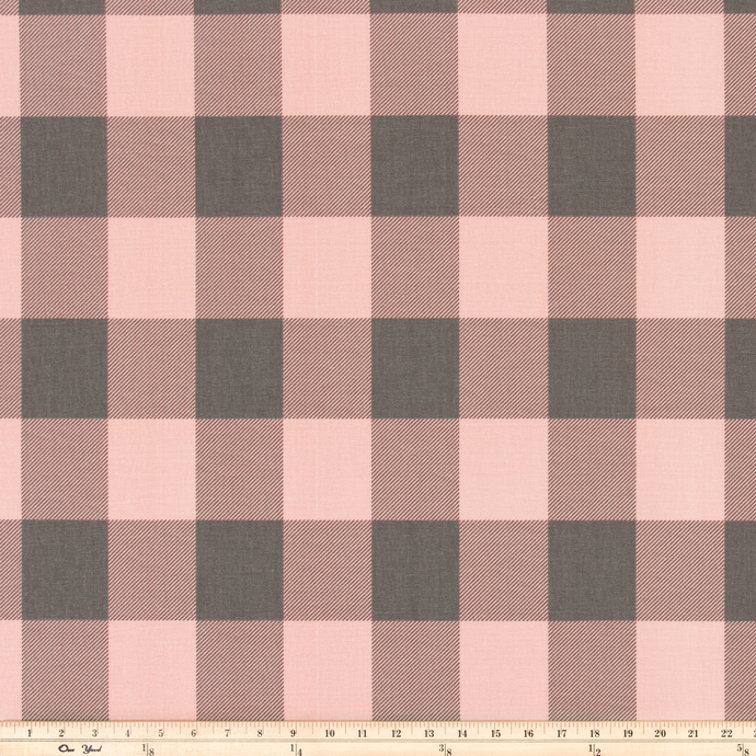 Buffalo Check Blush/Grey Fabric By Premier Prints