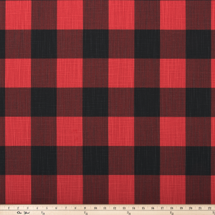 Buffalo Check Red/Black Slub Canvas