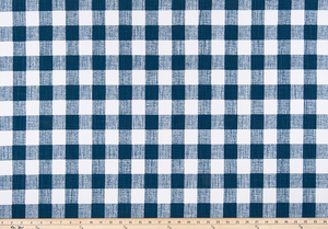 Dark Navy Blue Buffalo Plaid Check Fabric