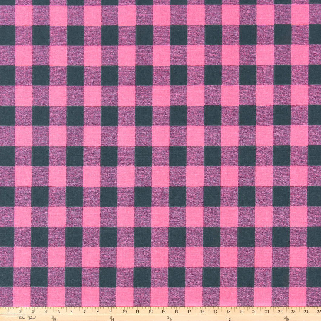 Buffalo Plaid Polish Pink/Deep Navy Fabric By Premier Prints