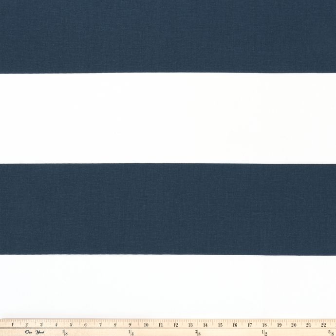 Blue stripes printed on white fabric