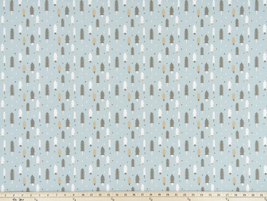 product photo of repeating pine tree pattern on printed fabric