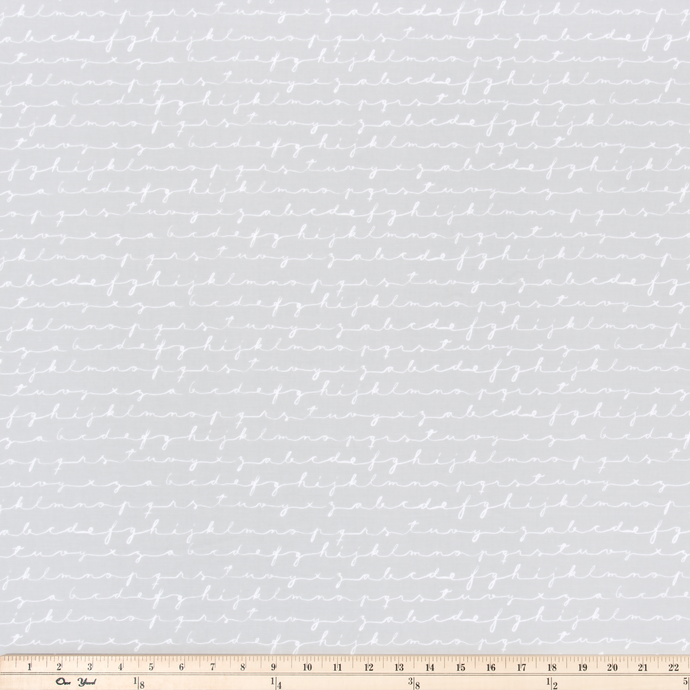 Chalk Script French Grey Fabric By Premier Prints