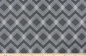 product photo of horizontal repeating diamond pattern printed on modern slub canvas fabric