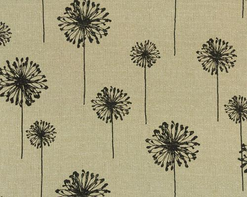 black dandelion flower fabric