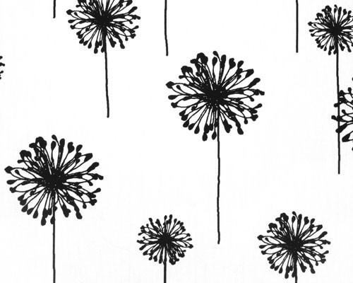 black dandelion flower printed on white fabric