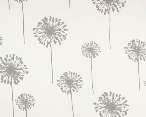 grey dandelion flower printed on white fabric