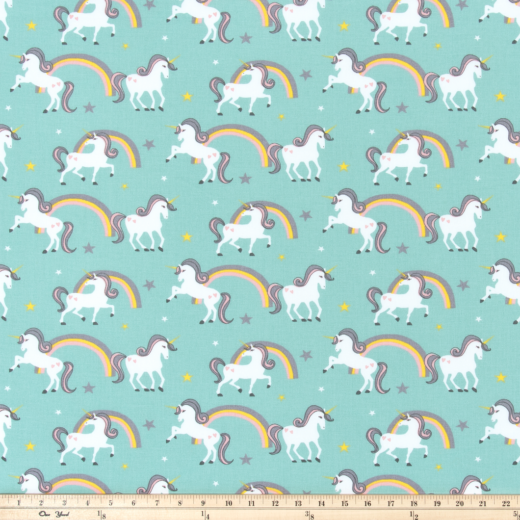 unicorn and rainbow fabric great for crafting and sewing