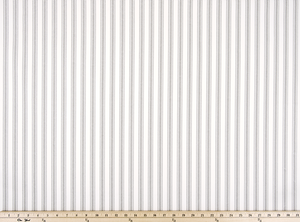 A closeup photo of a Grey Twill large Ticking Stripe Fabric