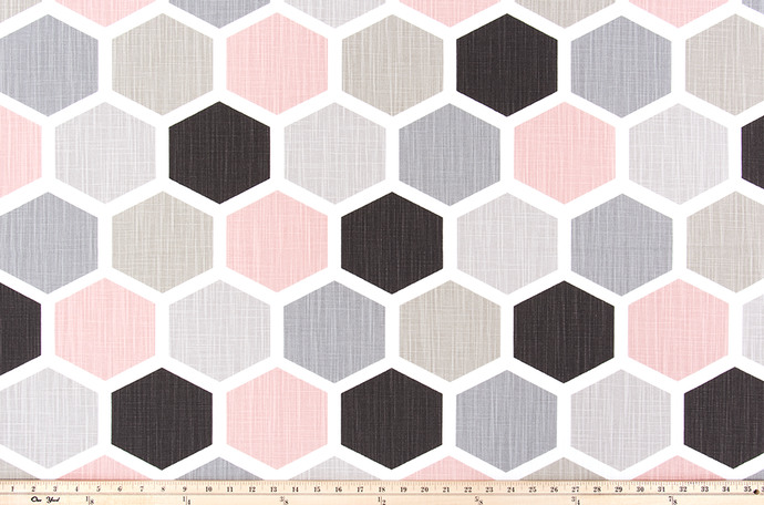 Hexagon Blush Slub Canvas Fabric By Premier Prints