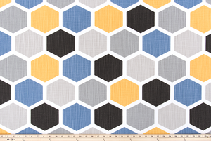Hexagon Brazilian Yellow Slub Canvas Fabric By Premier Prints