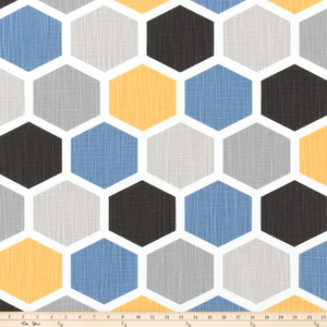 Hexagon Brazilian Yellow Slub Linen Fabric By Premier Prints