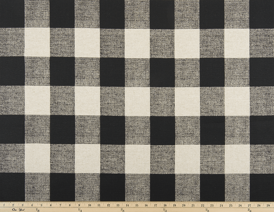 picture of black and cream color buffalo check plaid fabric