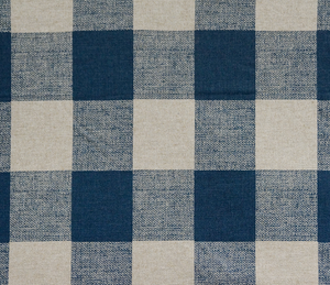 Picture of Dark Navy Blue and Cream Buffalo Plaid Check Fabric