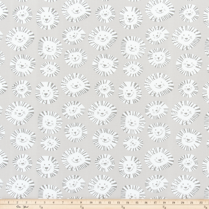 Lazy Lion French Grey Fabric By Premier Prints