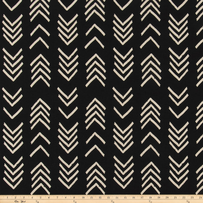 Bogolan Black Linen Fabric By Premier Prints