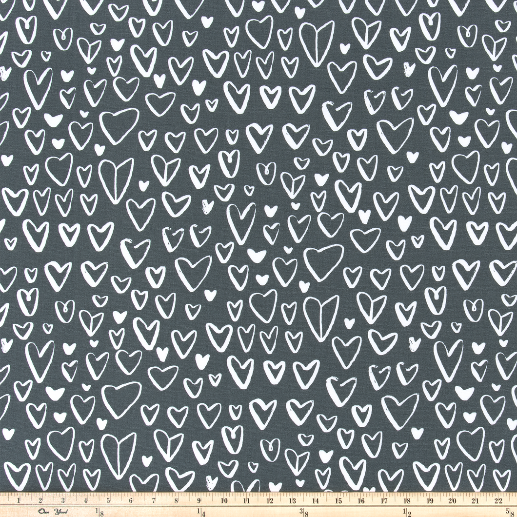home decor kids room heart fabric in black