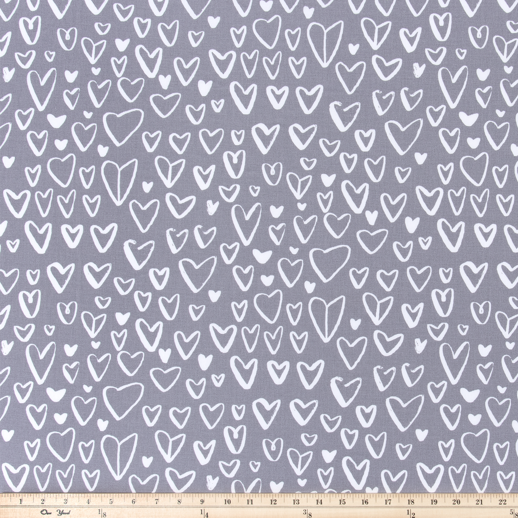 purple fabric with hearts by premier prints
