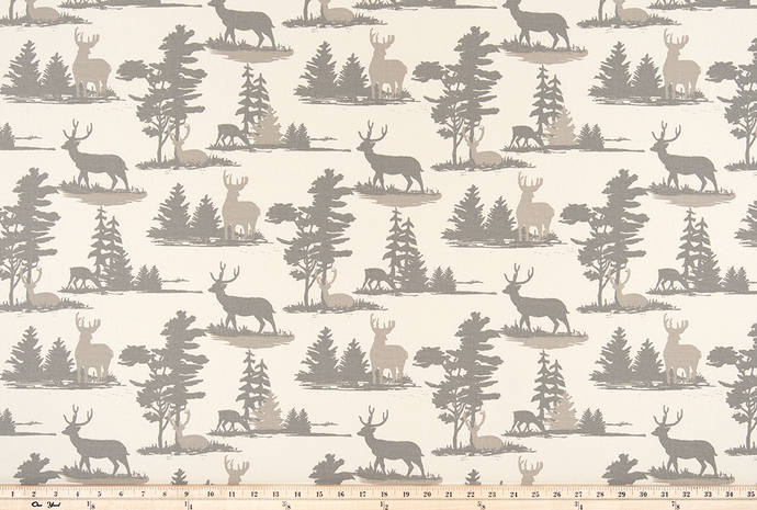 Mountain Antlers Lead Macon Fabric By Premier Prints