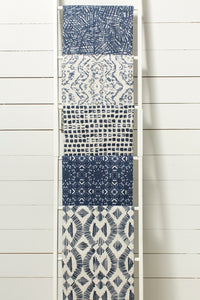 photo of modern blue and white native inspired fabric.