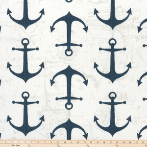 Photo of blue anchors printed on white nautical beach sea outdoor fabric