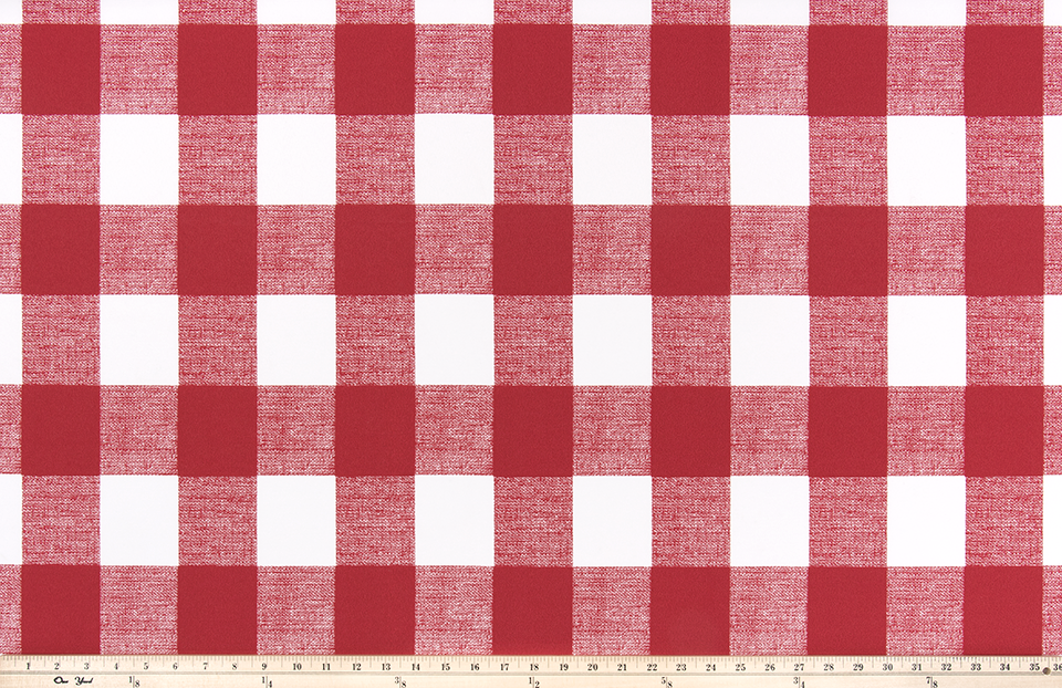Picture of Bright Red Buffalo Plaid Check Fabric
