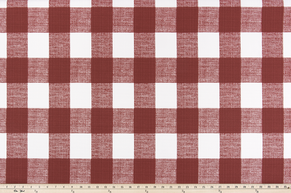 Picture of Dark Red Buffalo Plaid Check Fabric