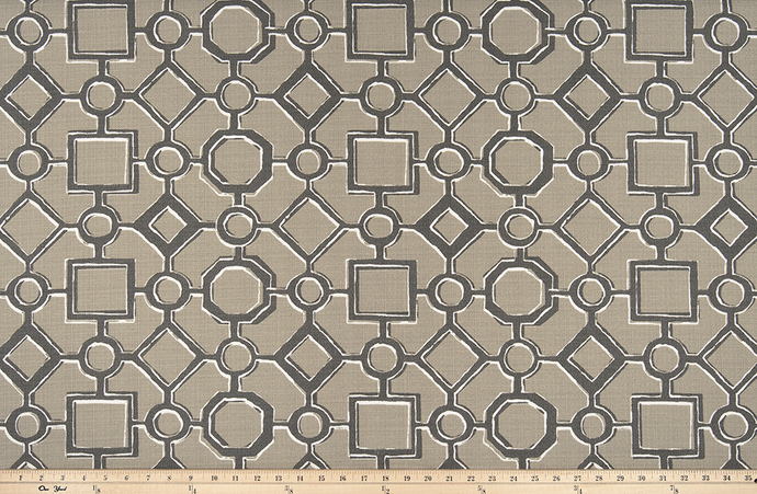 picture of beige, black, and white Brazilian pattern inspired fabric