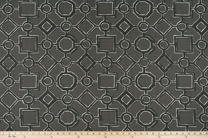 picture of grey, black, and white Brazilian pattern inspired fabric