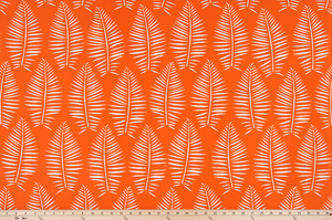 picture of repeating palm tree leaf tropical pattern printed on outdoor beach summertime fabric
