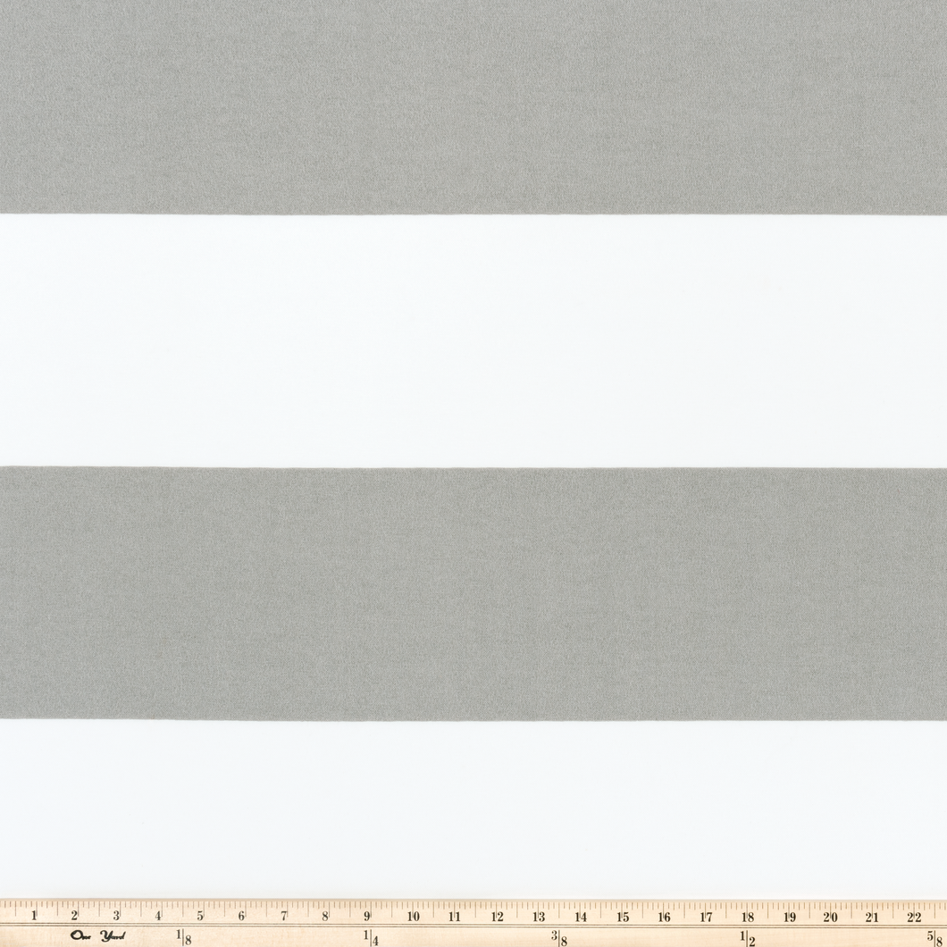 Photo of grey stripes printed on white fabric outdoor fabric beach fabric pool fabric