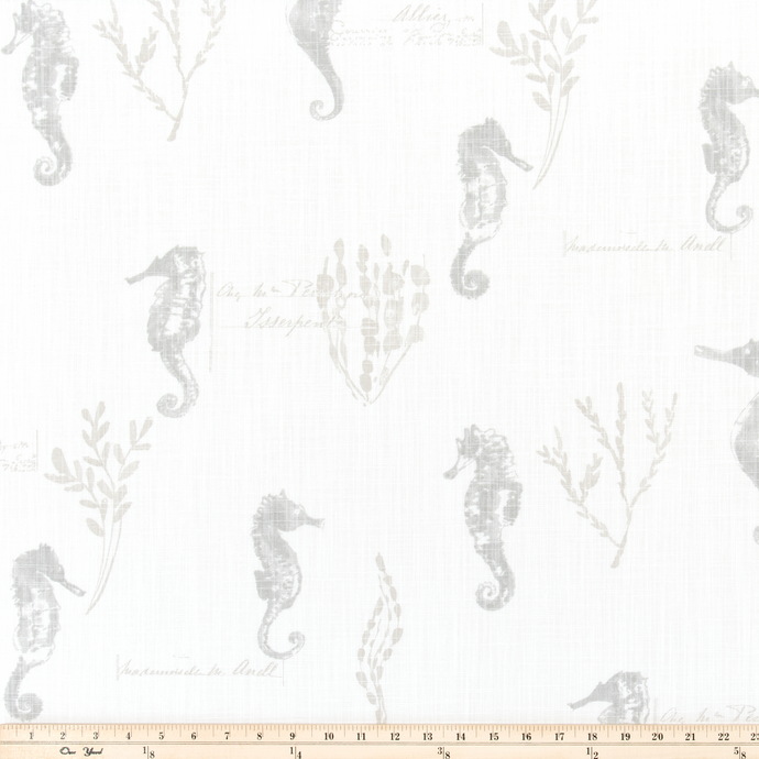 Ocean Love French Grey Slub Canvas Fabric By Premier Prints