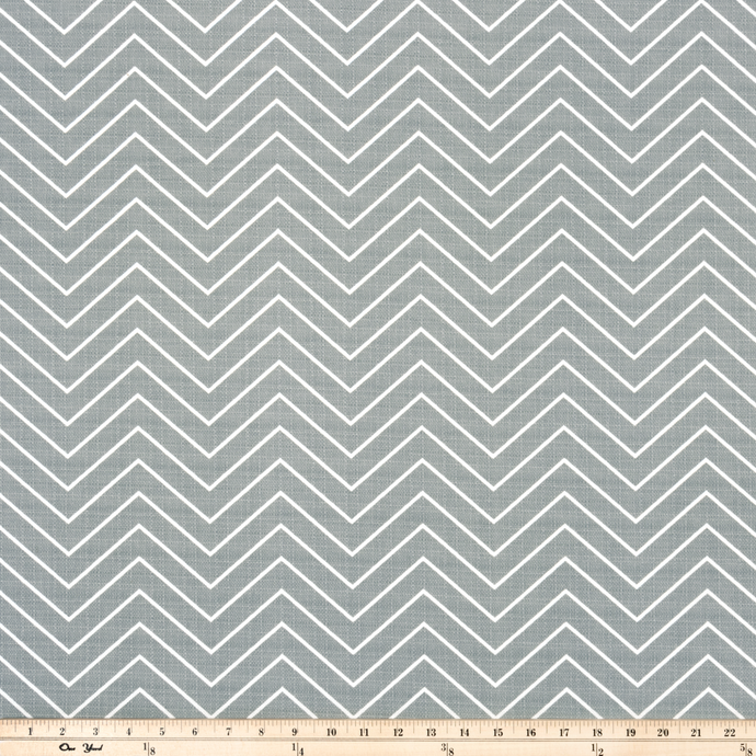 picture of grey chevron pattern printed on white outdoor fabric