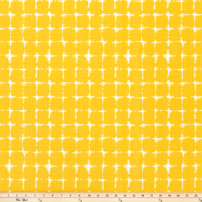photo of yellow square pattern outdoor fabric